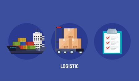 poster of delivery logistic service with icons vector illustration design Ilustração