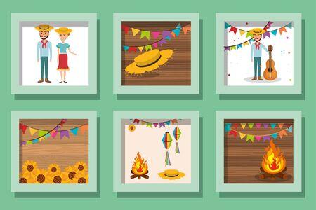 bundle designs of festa junina icons vector illustration design Çizim