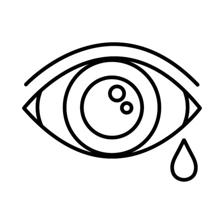 eye human crying, line style icon vector illustration design Illustration