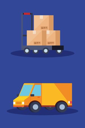 truck and boxes over cart design, Delivery logistics transportation shipping service warehouse industry and global theme Vector illustration 向量圖像