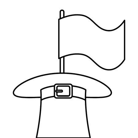 top hat leprechaun with flag isolated icon vector illustration designicon Ilustracja