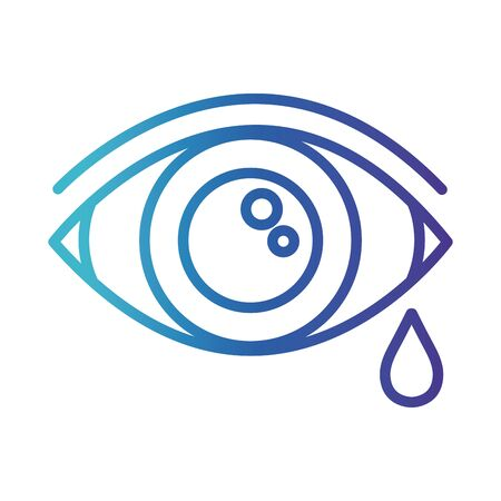 eye human crying, gradient line style icon vector illustration design