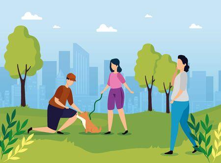 couple with dog in landscape nature vector illustration design 向量圖像