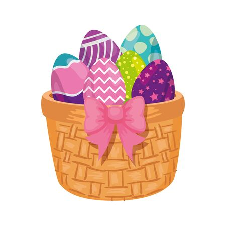 cute eggs easter decorated in basket wicker vector illustration designicon