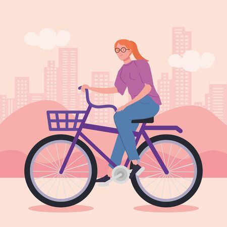 young woman riding bicycle avatar characters vector illustration design