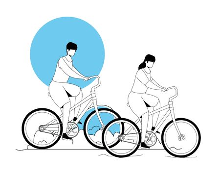 couple riding bicycle in park landscape vector illustration design