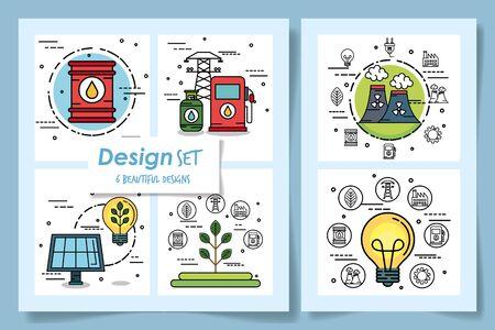 six designs of ecofriendly icons vector illustration design