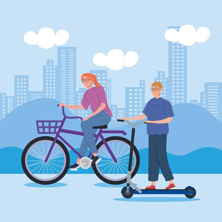 woman riding bike and man in scooter vector illustration design  イラスト・ベクター素材