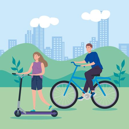 man riding bike and woman in scooter vector illustration design