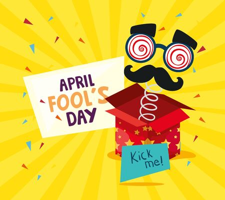 april fools day with surprise box and crazy mask vector illustration design