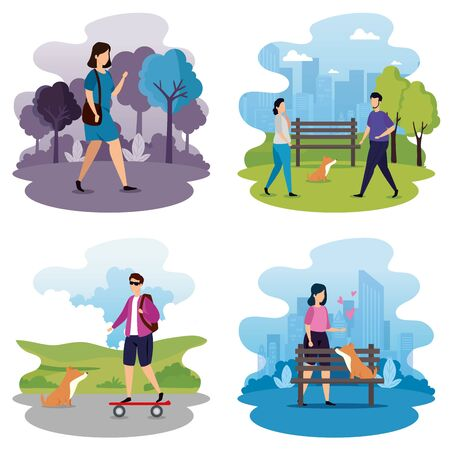 set scenes of young people doing activities vector illustration design  イラスト・ベクター素材
