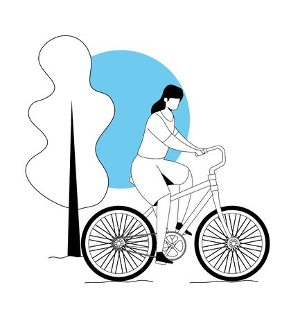 woman riding bicycle in park landscape vector illustration design