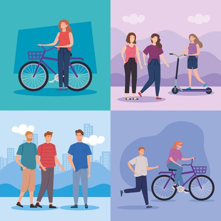 scenes of people doing activities vector illustration design