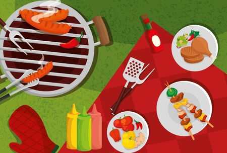 delicious grill menu with oven and food vector illustration design