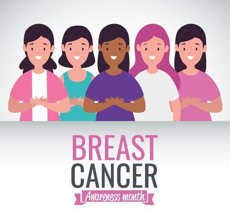 Breast cancer campaign design with united women over white background Ilustração
