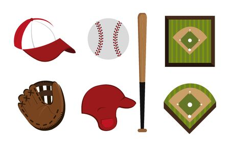 bundle of baseball and icons vector illustration design