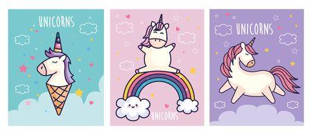 set of cute unicorns fantasy and decoration vector illustration design