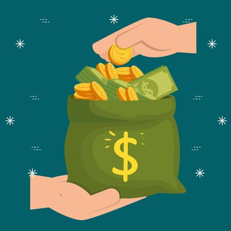 hands and bag money with bills and coins over green background, vector illustration