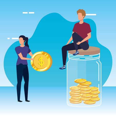 young couple with coins money in mason jar vector illustration design