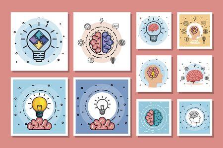 set designs of health mental day vector illustration design