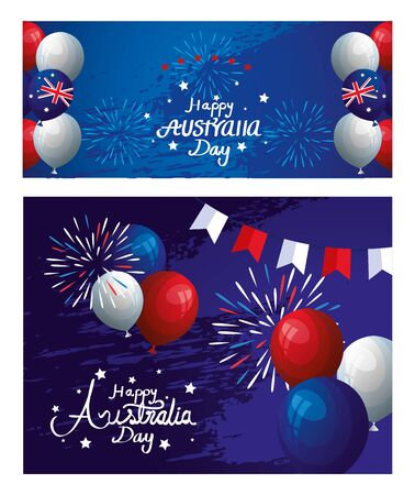 set poster of happy australia day with decoration vector illustration design
