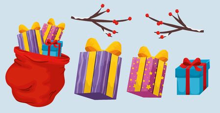 set boxes of merry christmas vector illustration design