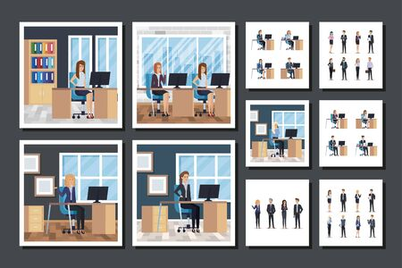 bundle of group business people in the workplace vector illustration design  イラスト・ベクター素材