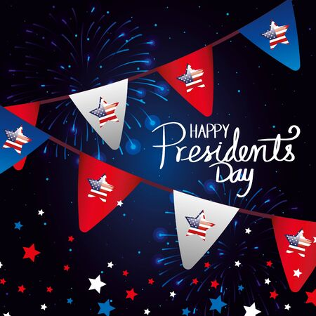happy presidents day with garlands hanging vector illustration design