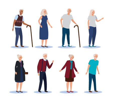 set of old women and men with fashion clothes and hairstyle over white background, vector illustration
