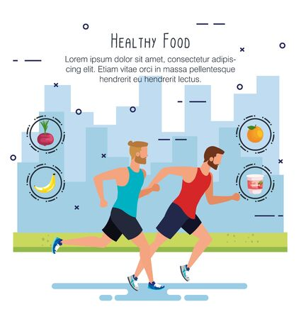 men practice sport with onion and fruits to healthy food, vector illustration