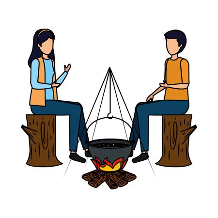 couple cooking in wood fire with pot vector illustration design 向量圖像