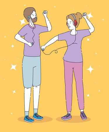 happy girl and boy dancing with headphones and mp4 over orange background, vector illustration