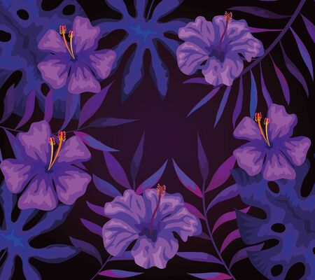background of flowers purple and tropical leafs vector illustration design