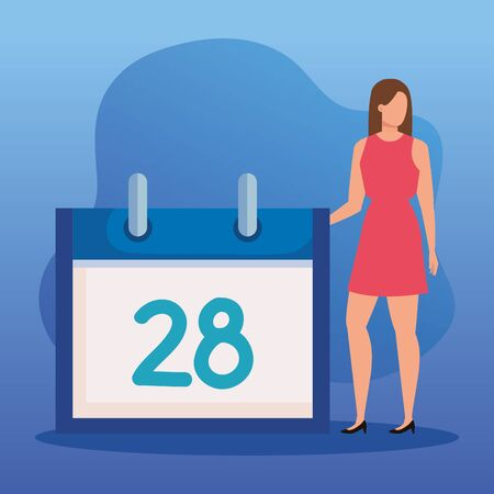 woman with calendar information over blue background to business strategy, vector illustration