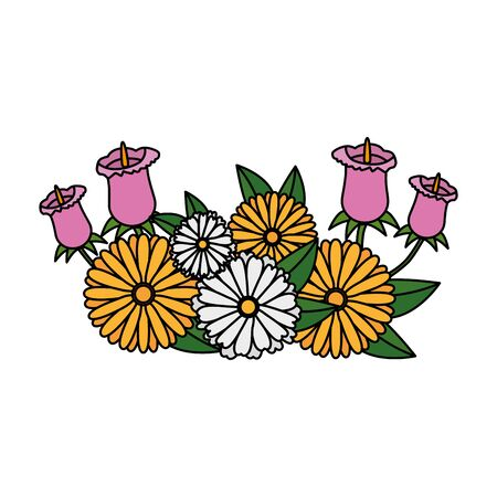 roses and flowers with leafs garden decoration vector illustration design