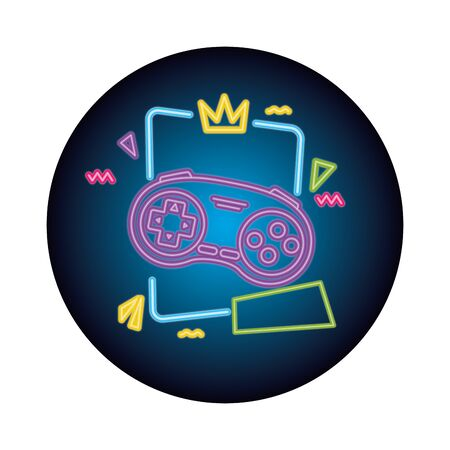 control game nineties style neon light vector illustration design