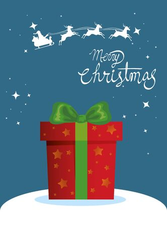 merry christmas poster with gift box vector illustration design Stock Illustratie