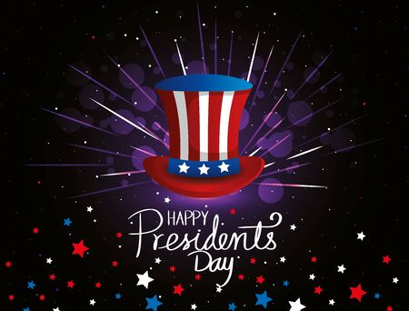 happy presidents day with top hat and stars vector illustration design