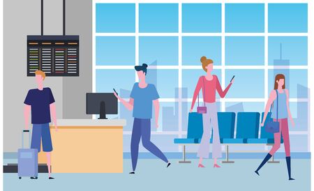 women and men with baggage and screen trip in the waiting room, vector illustration