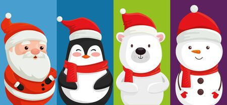 group of cute characters christmas vector illustration design 向量圖像