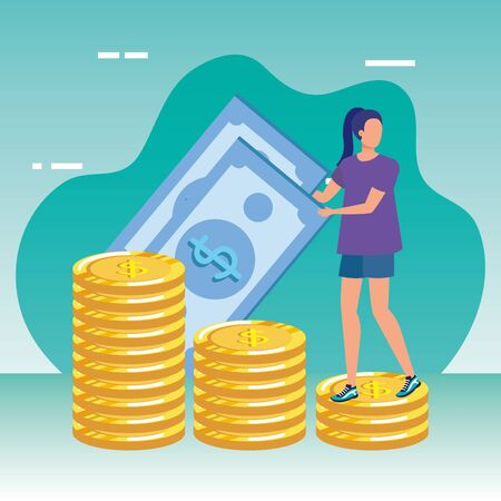 young woman with money character vector illustration design