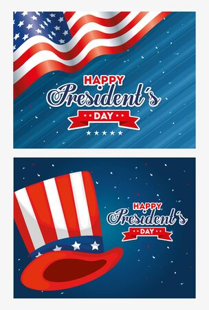 Hat and flag design, Usa happy presidents day united states america independence nation us country and national theme Vector illustration 向量圖像
