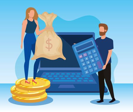businesswoman and businessman with laptop technology and bag money with calculator and coin, vector illustration