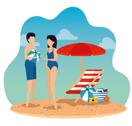woman and man wearing swimsuit with ball and umbrella with tanning chair to summer time vector illustration