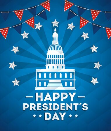 happy presidents day with american parliament silhouette vector illustration design