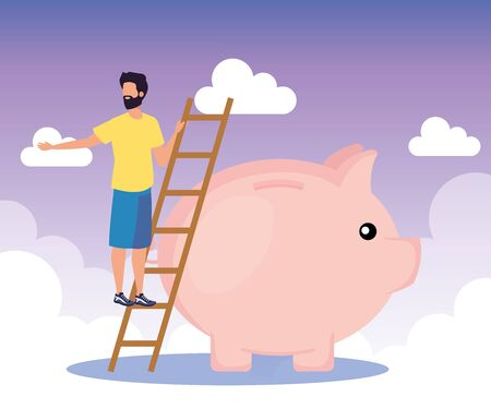businessman with piggy to save cash money with clouds, vector illustration