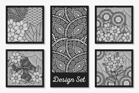 Black and white ornaments drawings frames set design, Decoration card decor style beauty elegant romantic and tecture theme Vector illustration Foto de archivo - 143287654