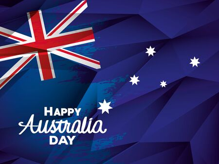 happy australia day with flag and stars vector illustration design