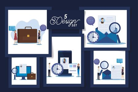 set of five designs business people and icons vector illustration design
