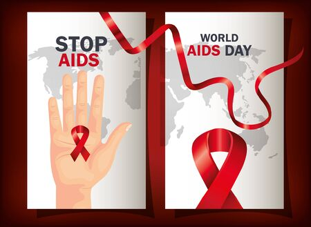 set poster of world aids day with ribbon vector illustration design